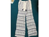 Cotton patterned bohemian style trousers