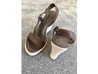 Brown wedge sandals- size 4