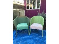 2 Lloyd looms and 2 wicker chairs