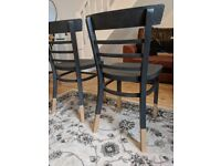 Graphite and gold hand painted chairs