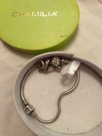 Chamilia charm bracket with 3 charms