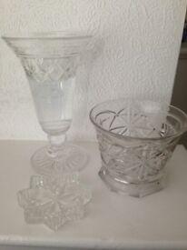 Vintage Edinburgh Crystal Flower Vase, Bowl, and Ashtray.