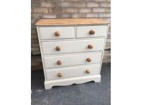 CHEST OF DRAWERS SOLID PINE FARMHOUSE COUNTRY STYLE PAINTED SOLID WOOD