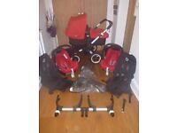 Bugaboo Donkey Duo..Full Twin Set Inc Maxi Cosi Car Seats! Red & Black! Immaculate Condition!
