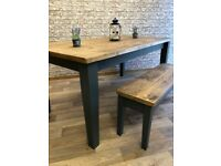 Rustic Tapered Leg Farmhouse Reclaimed Style Pine Kitchen Dining Table - Any Size, Any Colour!