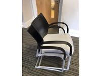 30 - SENATOR TRILIPSE HI QUALITY STACKING MEETING CHAIR - GREY SEAT- BLACK BACK - VG COND