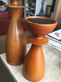 Beautiful wooden candlesticks