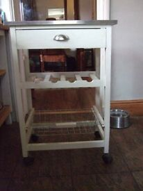 Kitchen Trolley with drawer and rack and basket (Reduced to £25)