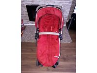 Mothercare orb pram red good used condition have liner and cover for baby basket and raincover