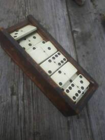 antique domino set early plastic celluloid brass pin