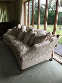 Sat on 4 times. Duresta Hornblower 3 sofa suite, mahogany, cream/gold embroidered. Why buy new?