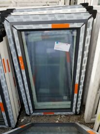 New Anthracite Grey On White UPVC Window 70cm W x 121cm H