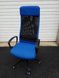 Ikea High Back Office Chair in Blue