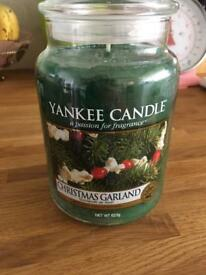 New, Yankee candle large jar Christmas garland green