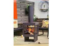 🔥La Hacienda Cosimo Contemporary Steel Fireplace Log Burner Chiminea 🔥