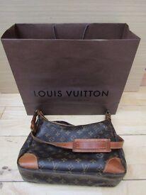 GENUINE LOUIS VUITTON BOULONGE 30 MONOGRAM BROWN COATED SHOULDER BAG