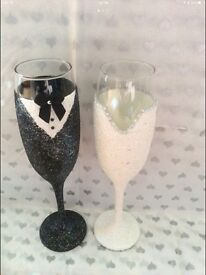 """Bride and groom hand glitter champagne glasses """"price drop"""""""