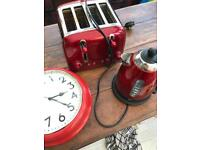 Red dualit kettle and toaster. Red clock