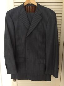 Mens Blue Pin Striped Suit.