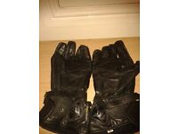 Leather Motorbike Gloves - size Large