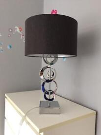 Silver and black table lamp abat-jour