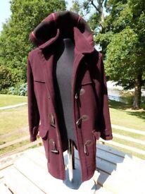 Burgundy/Purple Virgin Wool and Cashmere Duffel Coat - Size Medium