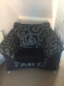 Lovely large black and grey chair
