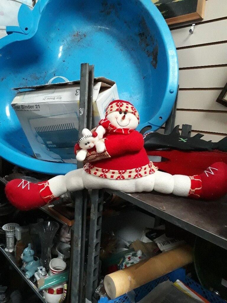 Snowman ledge ornament - draught excluder. Xmas figure