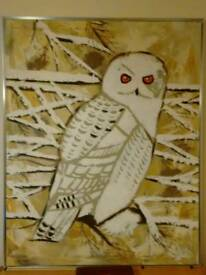 "Large ""Snow Owl"" painting by the artist Reynaldo ."