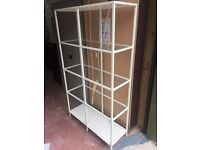 Tall White Glass Shelved Display Unit