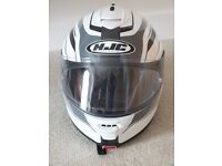HJC IS MAX II Flip-front helmet, white with black/grey graphics. Size M.