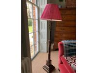 CHINOISERIE BLACK LACQUERED LAMP STANDARD, DECORATED WITH FLOWERS