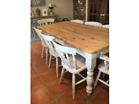 Painted Farmhouse pine dining table + 8 chairs. Shabby chic. Ideal for Christmas. 2 carvers