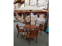 New Boxed 6 Piece Eucalyptus Wood Patio Set Garden / Cafe/ Bistro RRP £599.00 save £££££'s