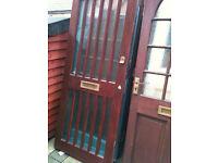 Exterior hardwood door with crazed glass strips