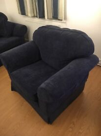Blue 3 seater sofa, armchair and stool
