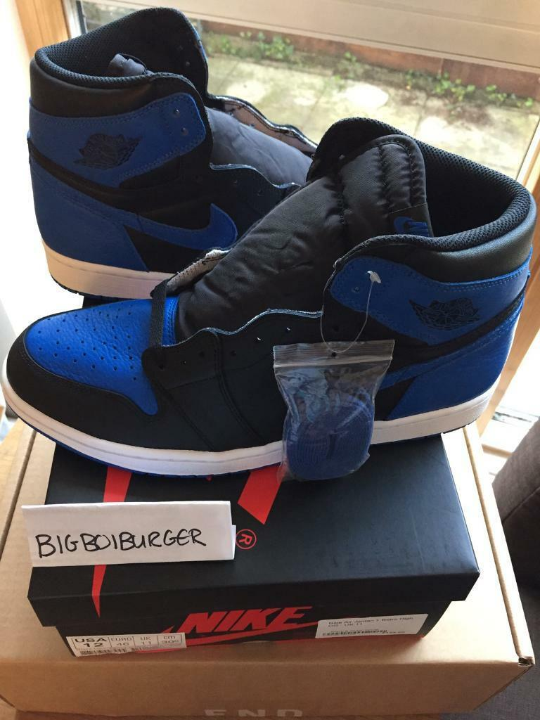 e2e83ca35a6207 2017 nike air jordan 1 retro high og royal uk 11 us 12 eu 46 blue bred