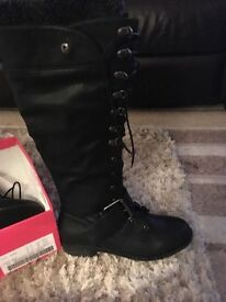 Flat boots, lace up front with hook detail, brand new in box, never worn
