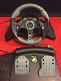 X box 360 racing wheel and pedals