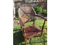 Rattan curve back low chair