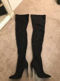 Size 5 Black Thigh High Boots