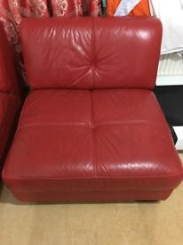 Red Faux Leather Sofa with Foot Stool