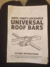 Universal roof bars anti theft lockable
