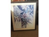 """Unusual Lilac & Blue Signed Print Of Lilies In Dark Frame 26"""" x 30"""""""