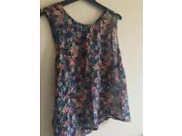 Size 10 New Look Chiffon Flower Top