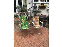 vintage kitsch retro sun beach deck chairs loungers
