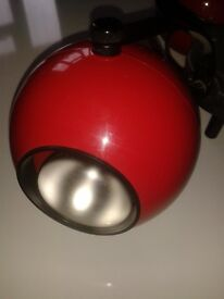 Eyeball Ceiling Spot light /3 balls. Retro. Red casing with black fittings. working.