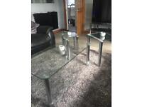 Glass coffee table and nest x2