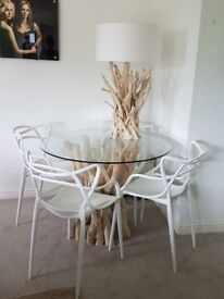Driftwood dining table and 4 chairs. £1,500 or nearest offer.