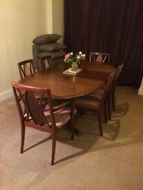 Beautiful dark wood Gplan dining room table plus 6 chairs